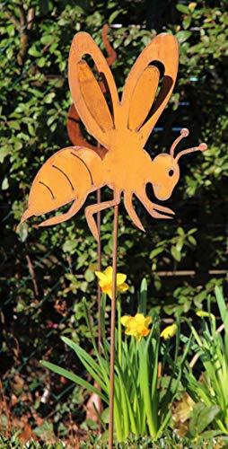 Blümelhuber Gartenstecker Biene/Wespe 108cm Metall Rost Gartendeko Edelrost