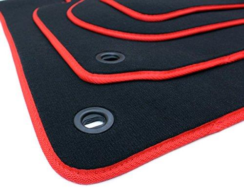 kfzpremiumteile24 Fußmatten/Velours Automatten Original Qualität Stoffmatten 4-teilig schwarz/rot Drehknebel oval