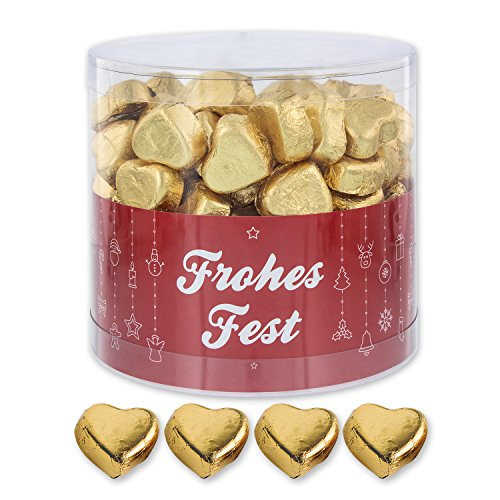 Günthart 150 Stück gold Schokoladen Herzen mit Nougatfüllung | Nougatcreme Frohes Fest | Schokoladenherzen gold Frohes Fest | Give away | goldene Herzen aus Schokolade | Weihnachten (1,1 kg) -