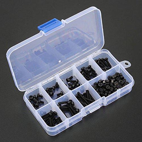 Doradus 160pcs Metric M3 Black Nylon Schrauben, Muttern Sortiment Set