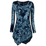 Women Tops, Xinantime Ladies O Neck Long Sleeve Blouse Tie Dyed Hankerchief Hemline Tunic Tops (Blue, M)