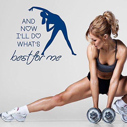 Vinyl Wandtattoo Zitat Best For Me Fitness Gymnastik Pilates Sportclub Bodybuilder Zentrum Gym Dekoration für Fitnessstudio Logo Fitness Studio Wandaufkleber Wandsticker Wanddekoration Fototapete A496 (Fitness-studio-wand-kunst)
