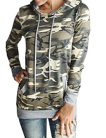 Shinekoo Femmes Camouflage Sweat-shirt Hoodies Automne Manches Longues Chemisier Survêtement