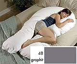 Kissenbezug (graphit) Länge 170x60x20 cm für XXL Jumbo Seitenschläferkissen