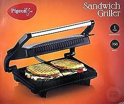 Pigeon Sandwich Griller & Pannini Maker 2 Slice 700watts Free Crystal CL-011 8 inch Serrated Edge Knife