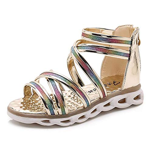 erthome Toddler Child Infant Kids bébé Filles Chaussures Blingbling, Confortable Paillettes Princesse Plage Chaussures Romaines Sandals 4-12Ans (9.5-10Ans, Or)