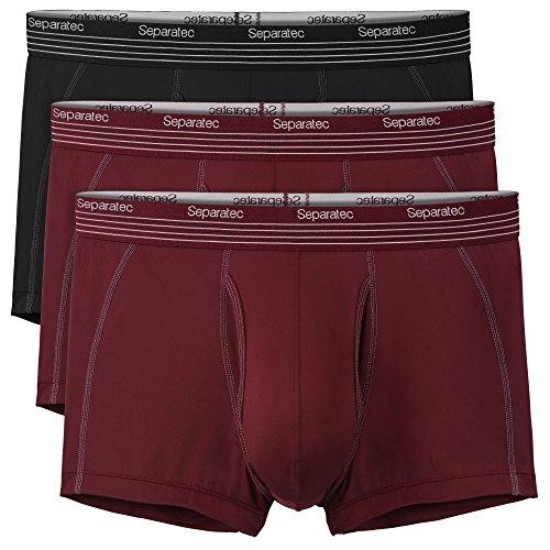 Separatec Herren schnelltrocknende Sports Boxershorts elastische Polyamid sportliche Unterhose Separate Beutel mit Eingriff, 3er Pack (L, Mehrfarbig) -