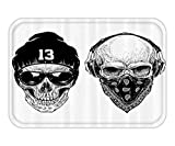 HLKPE Doormat SkullDecoration Set Funny Skull Band Dead Street GangWith Bandanna and Hood Rapper Style Grunge Print Bathroom Accessorie Long Black White.jpg 15.7X23.6 Inches/40X60cm