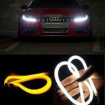 AGPtek [2 en un Pack] Tira de LED Muy Flexible Luces de Circulación Diurna para Audi, Tubo de LED de DRL, Switchback, Lámpara de Cabeza SMD con Dos Colores: Blanco+Ámbar(60cm)
