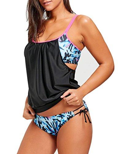 Keven Tankini Damen Bauchweg mit Shorts Retro Bikini-Set Push Up Bademode mit Hotpants (EU 34-36 / Tag M, Rosa) -