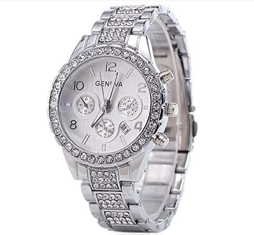 Damen-Uhr – Elegante Edelstahl Armbanduhr mit Strasssteinen - wasserfestes Quarz Uhrwerk (White)