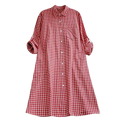VEMOW Herbst Frühling Sommer Elegante Damen Frauen Stehkragen Langarm Casual Täglichen Party Strand Urlaub Lose Tunika Tops T-Shirt Bluse(Y2-b-Rot, EU-40/CN-M)