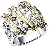 Aienid Frauen Hochzeit Bänder Vergoldet Kiefer Form Zirkonia Cz