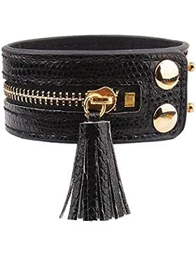Damen Mode Lederarmband Leder Quaste Armband Armreif mit Reißverschluss Niete Schwarz