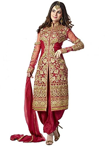 White World Women\'s Embroidery Semistitched Party Wear Salwar Suit Dress Material(red shervani)