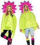 Karnevalsbud - Unisex Damen Männer Flower Power Poncho-Kostüm, gelbgrün pink, Onesize
