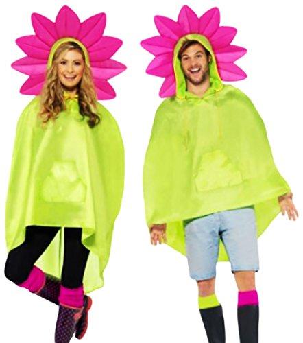 x Damen Männer Flower Power Poncho-Kostüm, gelbgrün pink, Onesize (Rasta Mann-halloween-kostüm)
