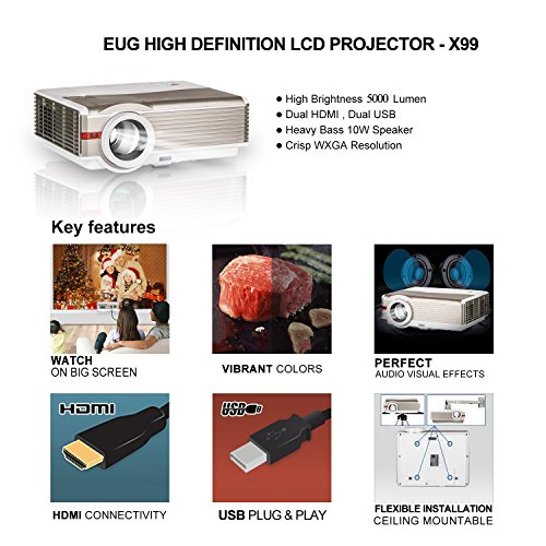 Projector HD 1080P, LCD Image System LED Video Projector Home Theater Outdoor Party Gathering 200