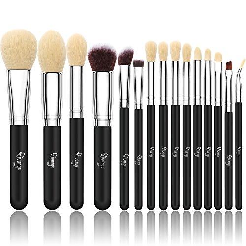 Qivange 15 stück Makeup Pinselset synthetisches Kosmetik Pinsel Set Foundation Lidschatten Pulver schminkpinsel mit Kosmetik Tasche(Schwarz Silber) -