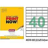 Desmat A4 Size Paper Labels Sticker For Laser, Inkjet & Copiers (40 Label Sheet)100 Sheets)