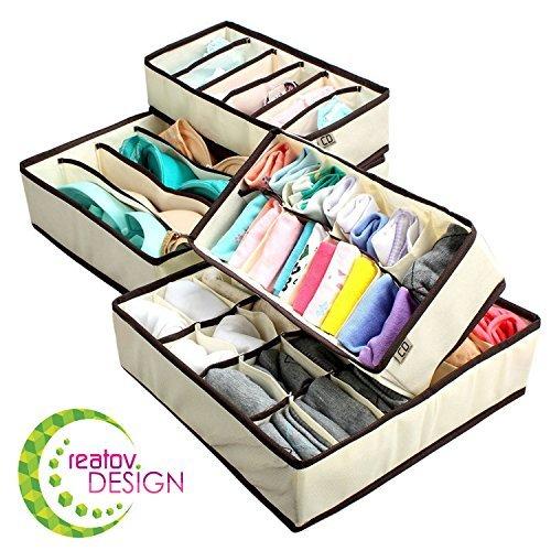 creatov plegable ropa interior organizador de armario, 4unidades), color beige
