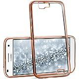 La caja del cromo para Huawei Ascend G7   Funda de silicona transparente con efecto metálico   Protección de celda fina bolsa de OneFlow   Backcover en Rose