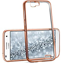 La caja del cromo para Huawei Ascend G7 | Funda de silicona transparente con efecto metálico | Protección de celda fina bolsa de OneFlow | Backcover en Rose