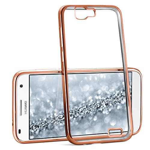 Chrome Case für Huawei Ascend G7 | Transparente Silikon Hülle mit Metallic Effekt | Dünne Handy Schutz Tasche von OneFlow | Back Cover in Rose