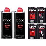 2 TINS ZIPPO LIGHTER FUEL/FLUID+12 FLINTS+2 WICKS