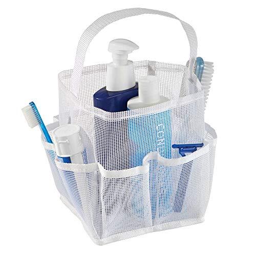 mDesign Shower Caddy Badezimmer Aufbewahrung - Duschkorb zum Hängen oder Stehen aus Netzstoff für Shampoo, Conditioner, Seife - weiß -