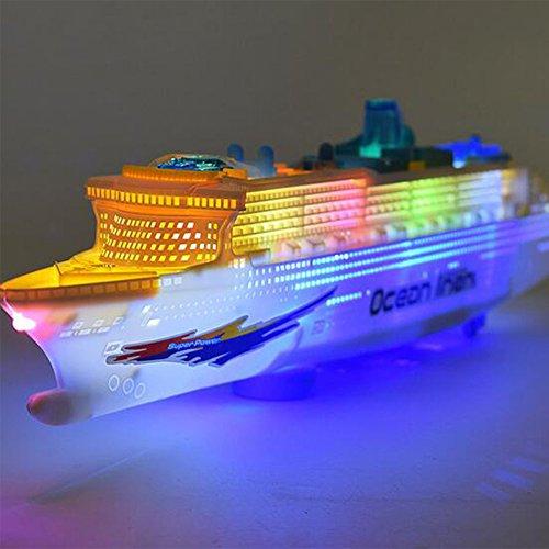 Zantec Baby elektrisches Navigations Modell großes Kreuzschiff Säuglingskleinkind Blitz Musik Universalrad Boots Spielzeug Weihnachtsgeschenk