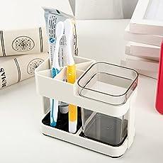 Woogor 1 Cup Toothbrush Toothpaste Stand Holder Bathroom Storage Organizer,Plastic