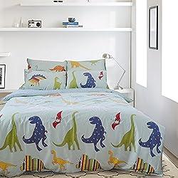 Lauson House dinosaurios Impresión Digital 100% algodón Juego de cama, algodón, Dinosaurios, 200x220+2x80x80cm