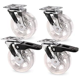 Möbelrollen SET Transportrollen Ø50 mm geschwungen - 2x Bremse + 2x Lenkrolle (transparent)