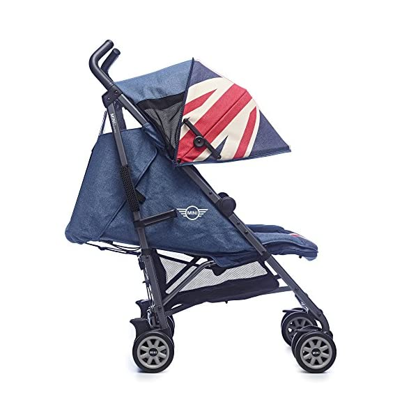 Easywalker Mini Vintage Union Jack Buggy  Suitable from birth 5 point 3 position harness Four recline positions with near flat recline 3