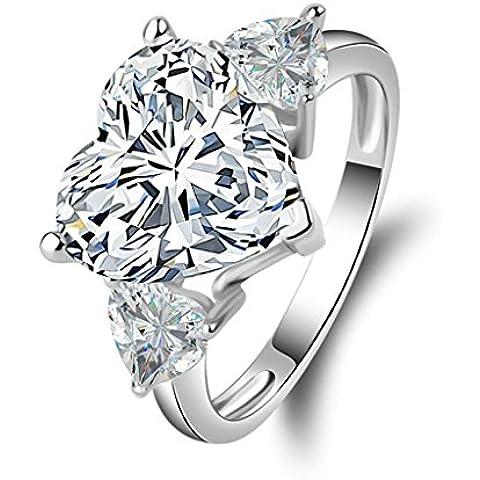 (Personalizzati Anelli)Adisaer Anelli Donna Argento 925 Anello Fidanzamento Incisione Gratuita Cuore Anello Diamante - 14k Dell'anello Indiano