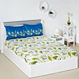 Solimo Lily Bloom 144 TC 100% Cotton Double Bedsheet with 2 Pillow Covers, Green