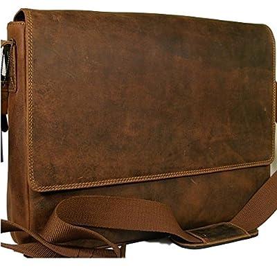 New Visconti dark tan leather briefcase laptop messenger bag 18516