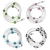 Newin Star 4pcs Perlas de Gafas de Sol Pulsera de Perlas Spectacle cordón Cuello Correa Cadena Porte-chaîne Enlace para Las Mujeres (Verde/Azul/Negro/Rosa)