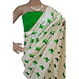 Harikrishnavilla Women's Latest Designer Party Wear New Collection Chanderi Cotton Bollywood Trendy Elegant 2018 Latest Designe Saree For Women With Bangalore Silk Unstitched Blouse ( Multi-Colour Butterfly, Free Size) - B07CJP27GR