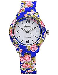 Geneva Blue Floral Print Watch For Women's (Blue)