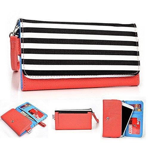 Kroo Pochette Téléphone universel Femme Portefeuille en cuir PU avec sangle poignet pour Blu Win Jr LTE Violet - violet Multicolore - Orange Stripes