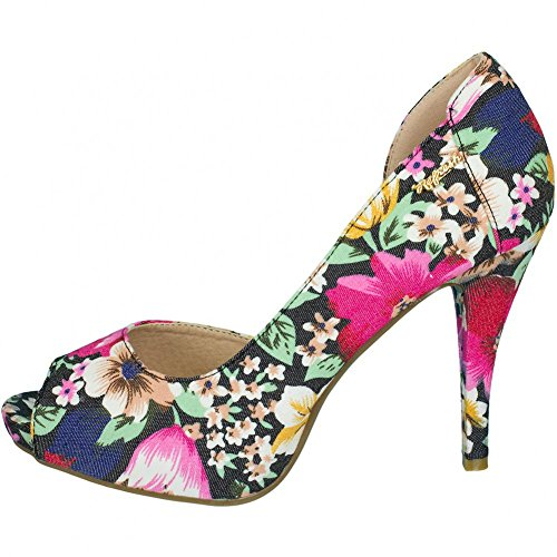Refresh Women High Heels Flat Pumps Flower Black