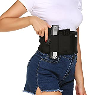 ANCHEER Holster for Belly Band Concealed Carry Pistol Gun Holster Black Elastic for Revolvers with Magazine Pocket for Men and Women Fits 1911,Glock,Sig Sauer,Ruger,S&W M&P Shield