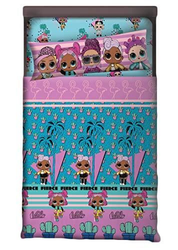 Lol Surprise Juego de sábanas Cama Individual, para niña (Incluye Encimera, Bajera y Funda de Almohada) (105 cm)