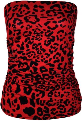 WearAll - Damen Tier Tribal Druck Trägerlos Geraffte Bandeau Top - 4 Muster - Größe 36-42 Leopard Rot