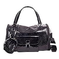 YOUJIA Pet Carrier Dog Tote Bag Soft PVC Handbag Travel Purse for Little Pet, Black - S (34 * 22 * 20cm)