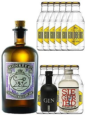 Gin-Set Monkey 47 Schwarzwald Dry Gin 0,5 Liter + Black Gin Gansloser Deutschland 5cl + Siegfried Dry Gin Deutschland 4cl + 12 x Goldberg Tonic Water 0,2 Liter