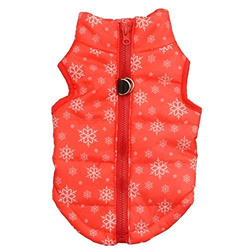 XXYsm Hundebekleidung Kleine Hunde Kleidung Winter Schneeflocke drucken Weste Haustier Costumes mit Reißverschluss Rot XS