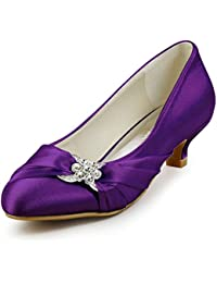 ElegantPark EP2006L Women Low Heels Rhinestones Round Toe Pumps Satin Wedding Evening Party Shoes